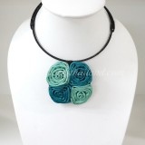 Four Silk flower choker necklace (Green-Blue)