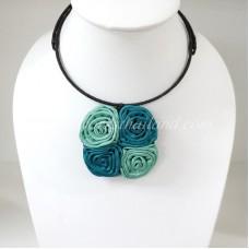 Four Silk flower choker necklace (Green-Blue)
