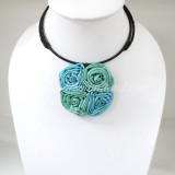 Four Silk flower choker necklace (Sky Blue-Green)