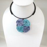 Four Silk flower choker necklace (Purple-Sky Blue)