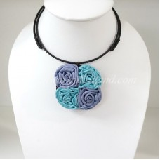Four Silk flower choker necklace (Purple-Sky Blue)