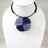 Four Silk flower choker necklace (Purple 2 Tone)
