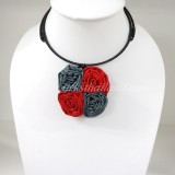 Four Silk flower choker necklace (Red-Grey)