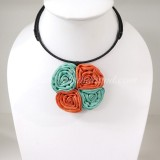 Four Silk flower choker necklace (Green-Orange)