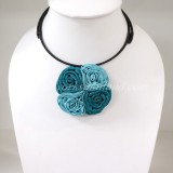 Four Silk flower choker necklace (Sky Blue 2 Tone)