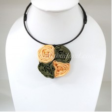 Four Silk flower choker necklace (Yellow-Olive Green)