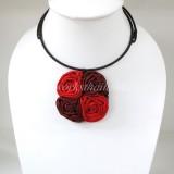 Four Silk flower choker necklace (Red 2 Tone)