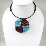 Four Silk flower choker necklace (Sky Blue-DarkRed)