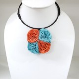 Four Silk flower choker necklace (Orange-Sky Blue)