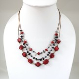 Coral Silk Thread Necklace (Red )