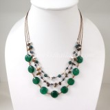 Round Flat Stone Silk Thread Necklace (Green)