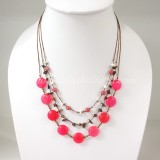 Round Flat Stone Silk Thread Necklace (Pink)