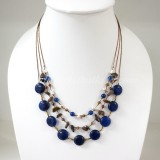 Round Flat Stone Silk Thread Necklace (Blue)