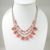 Teardrop Silk Thread Necklace  (Cherry Quartz size S)