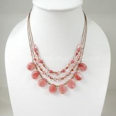 Teardrop Silk Thread Necklace  (Cherry Quartz size S)