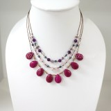 Teardrop Silk Thread Necklace  (Magenta size S)