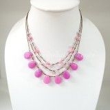 Teardrop Silk Thread Necklace   (Pink size S)