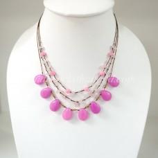 Teardrop Silk Thread Necklace   (Pink size S)