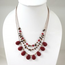 Teardrop Silk Thread Necklace  (Maroon size S)
