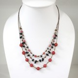 Round  Stone Bead Silk Thread Necklace (Red)