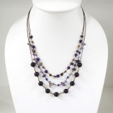 Round  Stone Bead Silk Thread Necklace Purple)