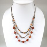 Round  Stone Bead Silk Thread Necklace (Orange)