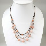 Round  Stone Bead Silk Thread Necklace (Peach)