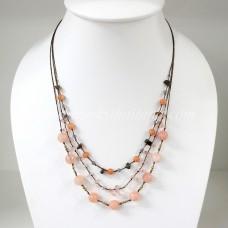 Round  Stone Bead Silk Thread Necklace (Peach)