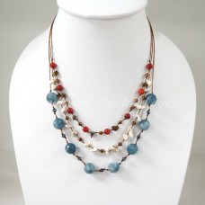 Round  Stone Bead Silk Thread Necklace (Gray)