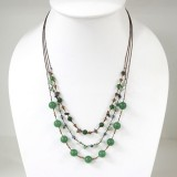 Round  Stone Bead Silk Thread Necklace (Green)