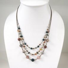 Round  Stone Bead Silk Thread Necklace (Mix 01)