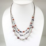 Round  Stone Bead Silk Thread Necklace (Mix 02)