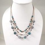 Round  Stone Bead Silk Thread Necklace (Pink Blue)