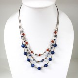 Round  Stone Bead Silk Thread Necklace (Lapis Lazuli)
