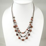 Round  Stone Bead Silk Thread Necklace (Brown)