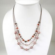 Round  Stone Bead Silk Thread Necklace (Light Brown)