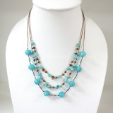 Round  Stone Bead Silk Thread Necklace (Sky Blue)