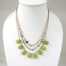 Teardrop Silk Thread Necklace (Lemon Green  size S)