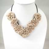 Silk Flower Small V-Shaped Necklace (Cream)