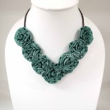 Silk Flower Small V-Shaped Necklace (Green)