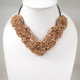 Silk Flower Small V-Shaped Necklace (Brown)