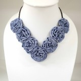 Silk Flower Small V-Shaped Necklace (Light Purple)