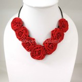 Silk Flower Small V-Shaped Necklace (Red)