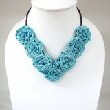 Silk Flower Small V-Shaped Necklace (Sky Blue)