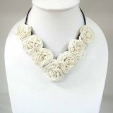 Silk Flower Small V-Shaped Necklace (White)