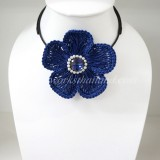 Flower Choker Necklace (Blue)