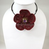 Flower Choker Necklace (Maroon)