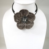 Flower Choker Necklace (ํGray)