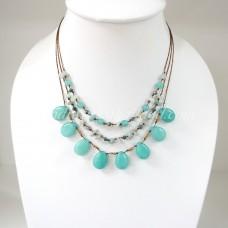 Teardrop Silk Thread Necklace (Sky Blue  size S )