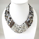 Shell V-Shaped Necklace Mix(Gray)